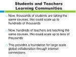 students and teachers learning communities
