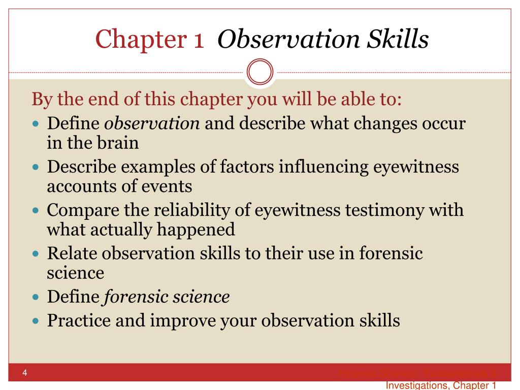 Ppt Chapter 1 Observation Skills Powerpoint Presentation Free Download Id 2652590