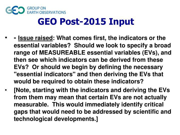 GEO Post-2015 Input