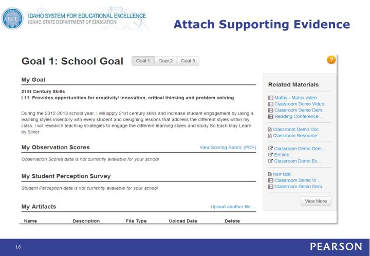 Attach Supporting Evidence