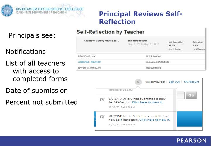 Principal Reviews Self-Reflection