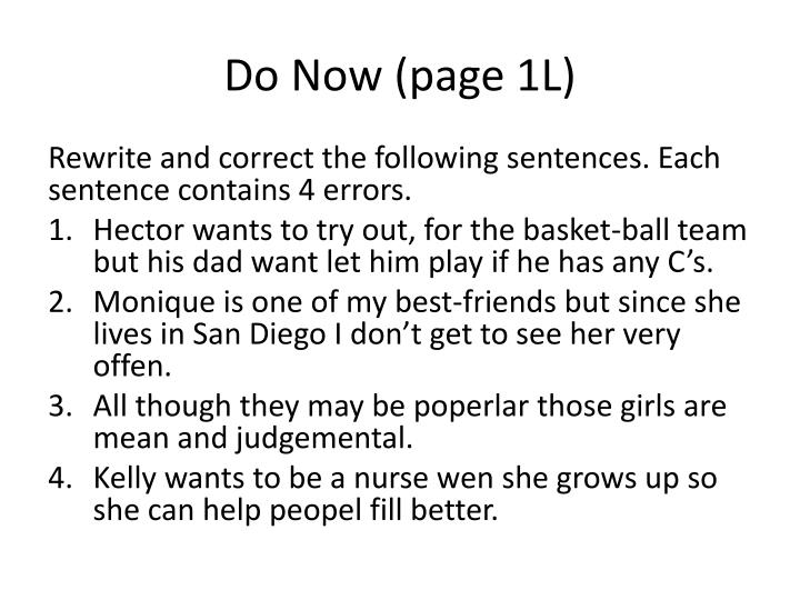Do now page 1 l