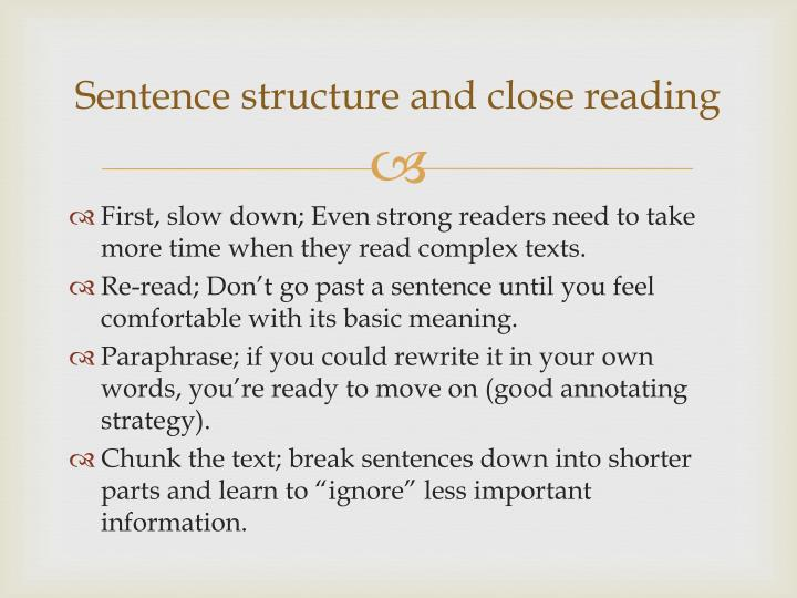 Sentence structure and close reading