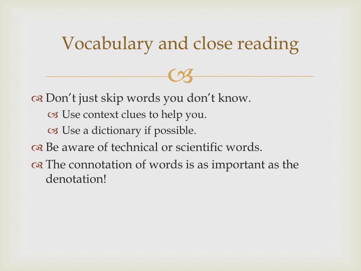 Vocabulary and close reading