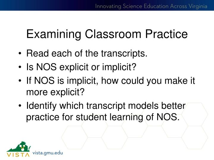 Examining Classroom Practice