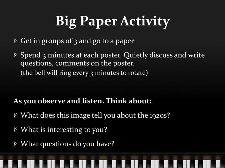 Big Paper Activity