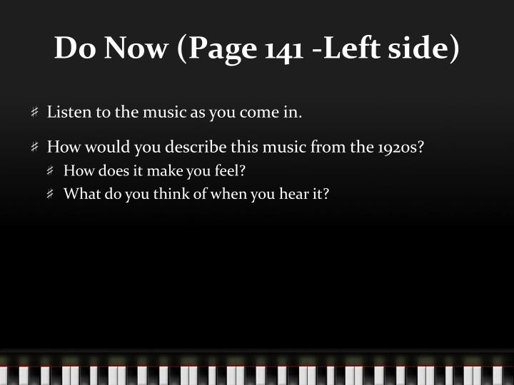 Do now page 141 left side
