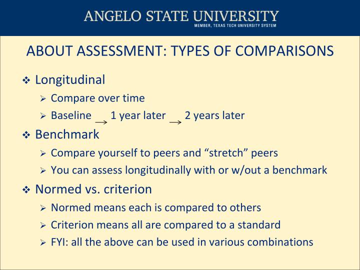ABOUT ASSESSMENT: TYPES OF COMPARISONS