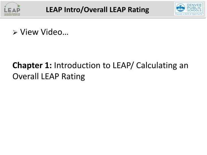 LEAP Intro/Overall LEAP Rating