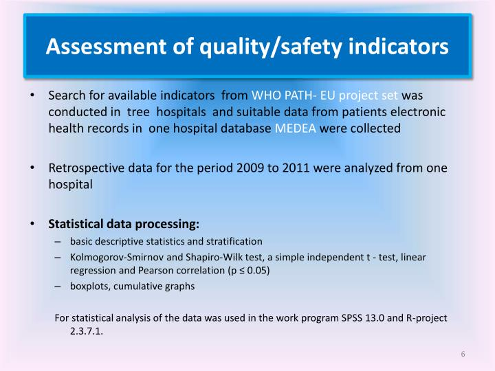 Assessment of quality/safety indicators