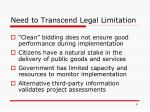 need to transcend legal limitation