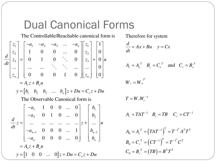 Dual Canonical Forms