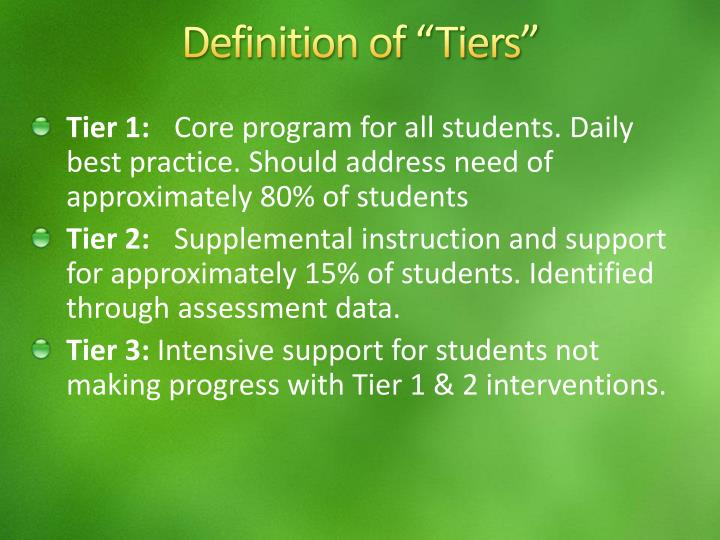 """Definition of """"Tiers"""""""