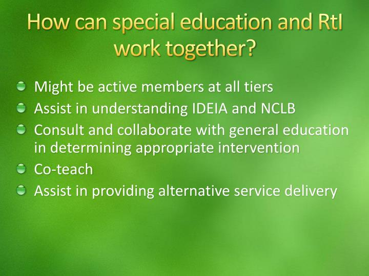 How can special education and