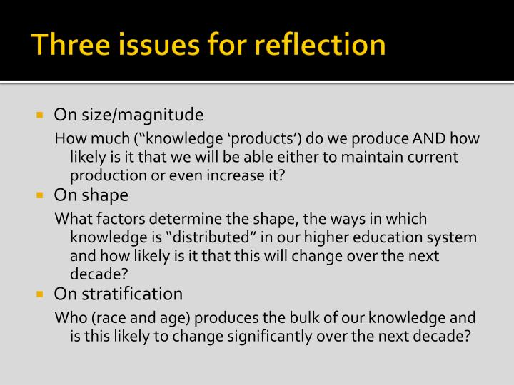 Three issues for reflection