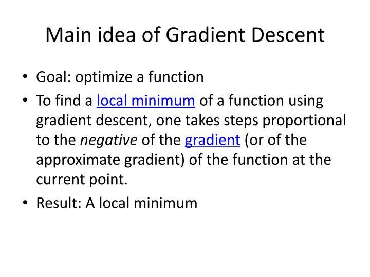Main idea of gradient descent