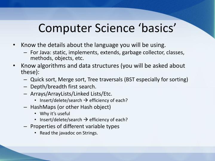 Computer Science 'basics'
