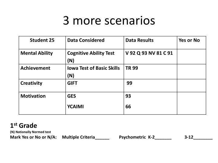 3 more scenarios
