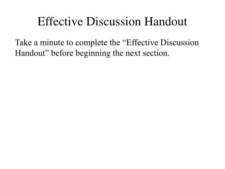 Effective Discussion Handout