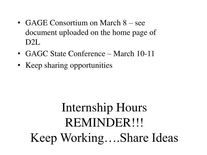 Internship hours reminder keep working share ideas