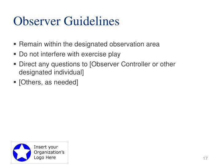 Observer Guidelines