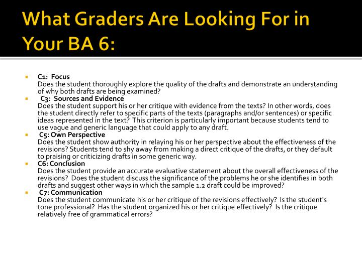 What Graders Are Looking For in Your BA 6: