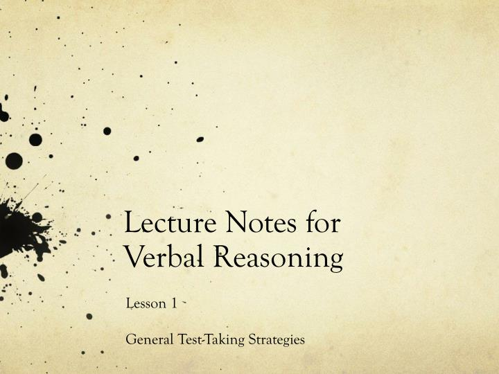 lecture notes for verbal reasoning n.