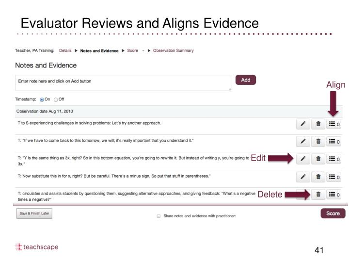 Evaluator Reviews and Aligns