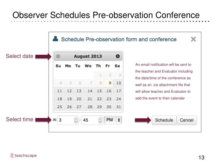 Observer Schedules