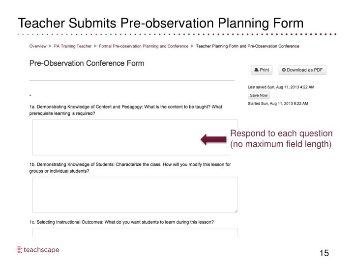 Teacher Submits Pre-observation Planning Form