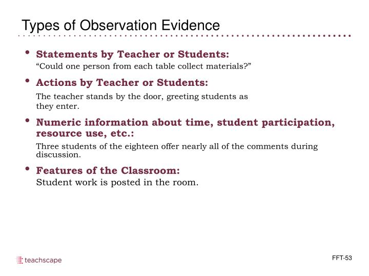 Statements by Teacher or Students: