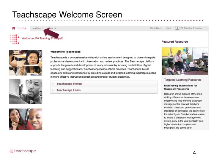 Teachscape Welcome Screen