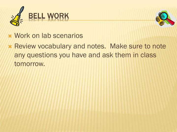 Work on lab scenarios