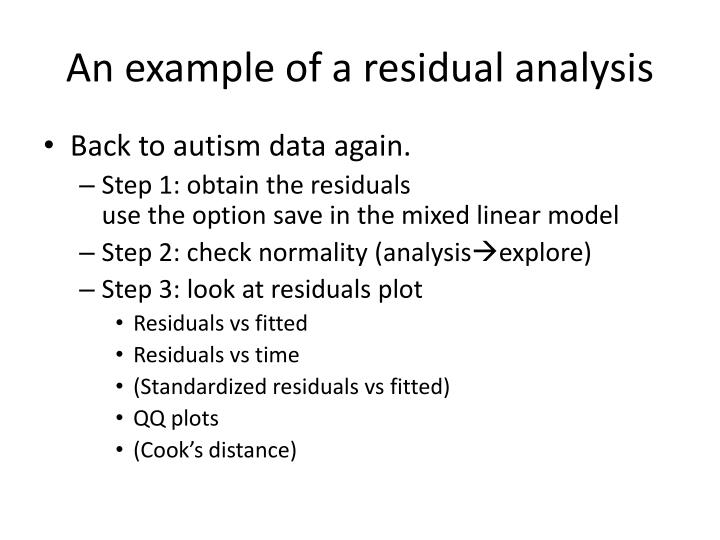 An example of a residual analysis