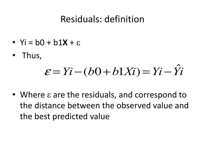 Residuals: definition
