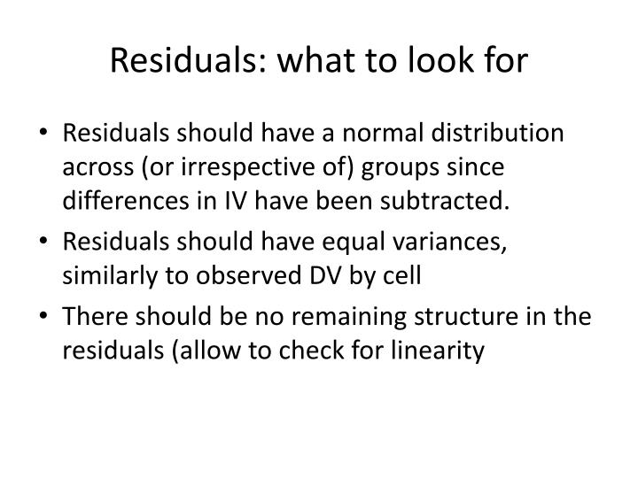 Residuals: what to look for