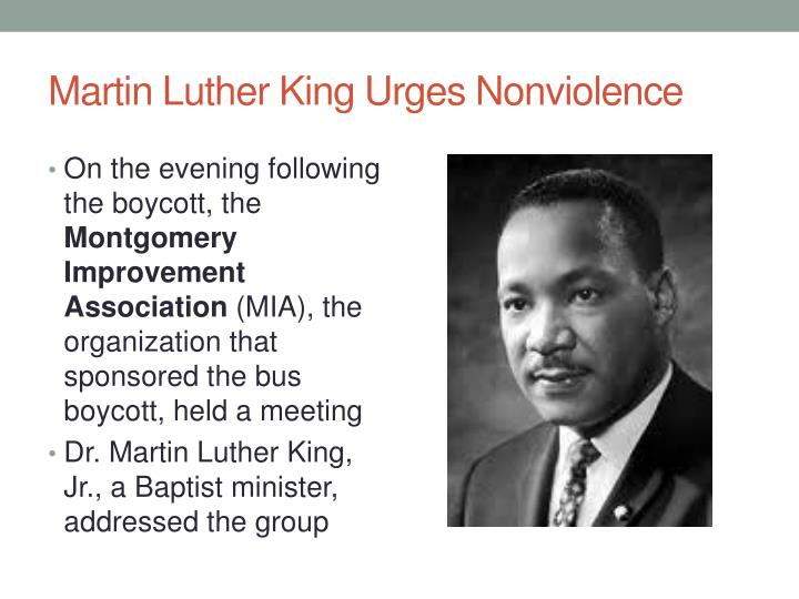 Martin Luther King Urges Nonviolence