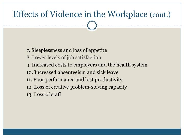 Effects of Violence in the Workplace