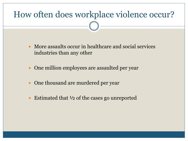 How often does workplace violence occur?