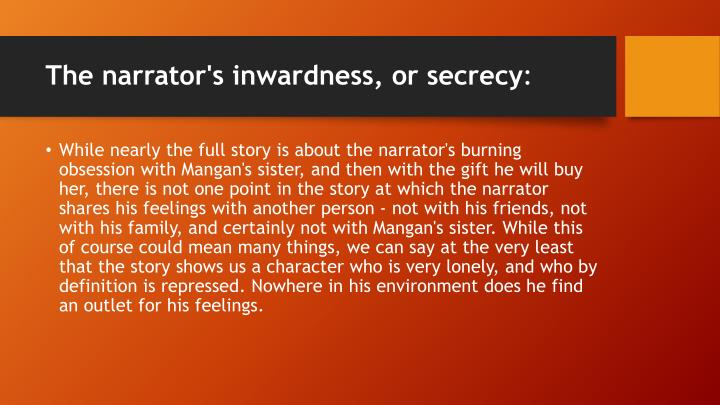 The narrator's inwardness, or secrecy