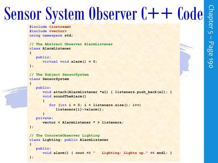 Sensor System Observer C++ Code