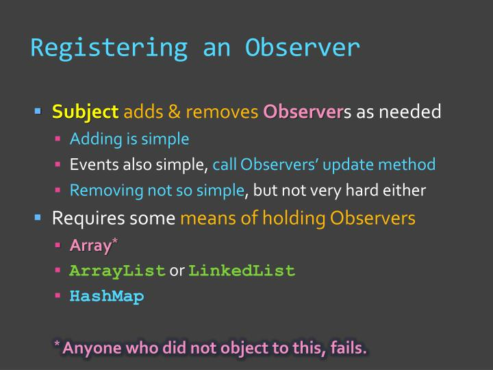 Registering an Observer