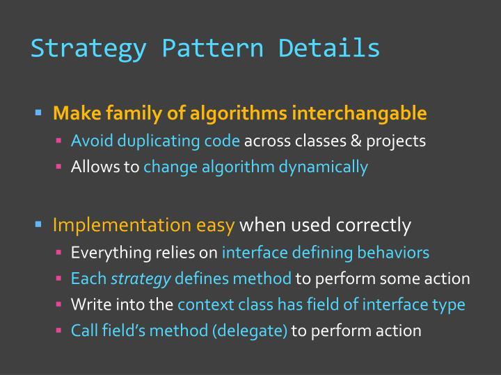 Strategy Pattern Details
