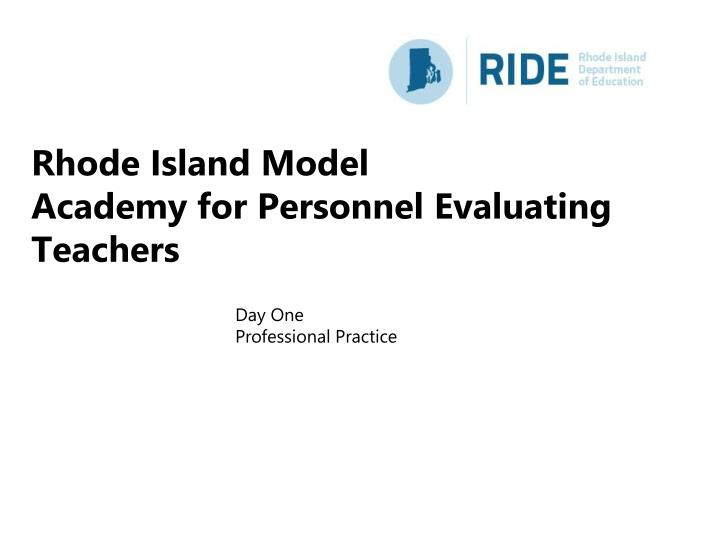 rhode island model academy for personnel evaluating teachers n.