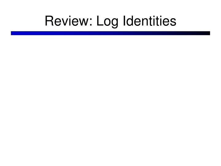 Review: Log Identities