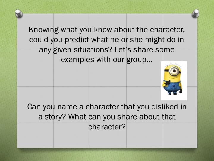 Knowing what you know about the character,