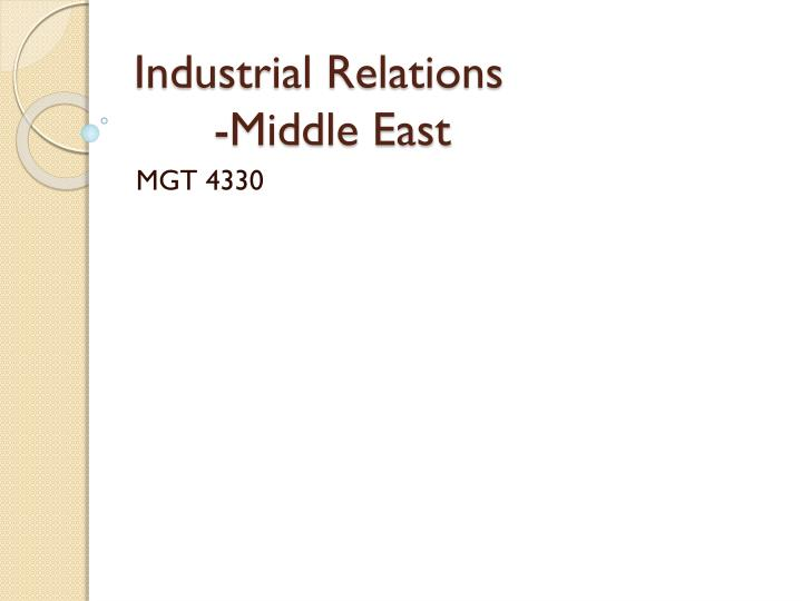 Industrial relations middle east