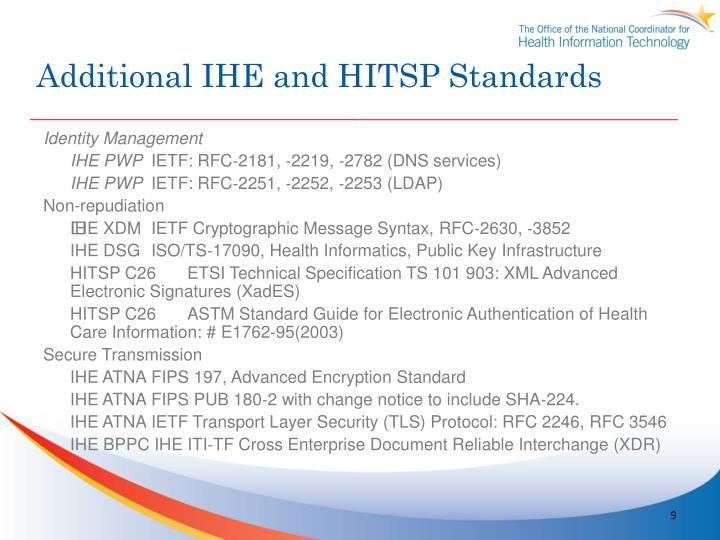 Additional IHE and HITSP Standards