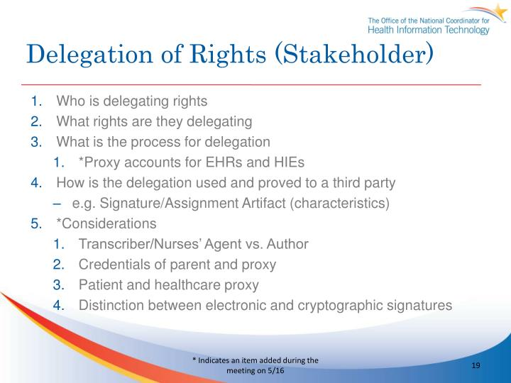 Delegation of Rights