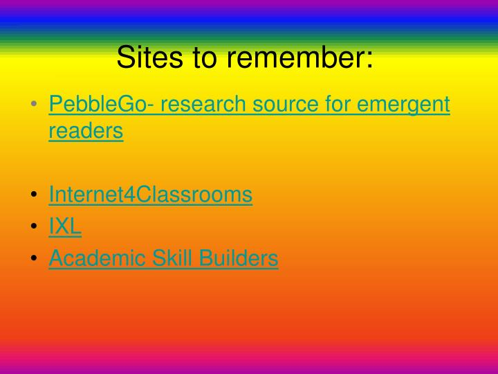 Sites to remember
